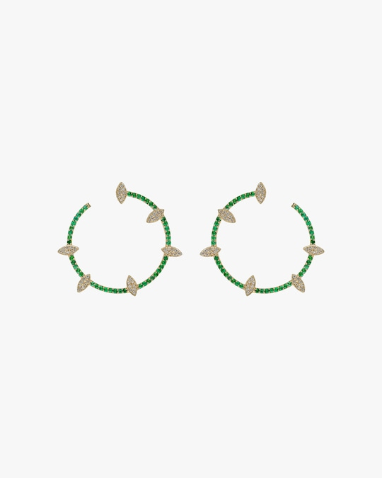 Harika Emerald & White Diamond Spiral Hoop Earrings 0