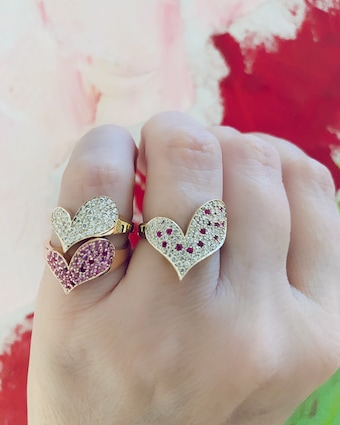 Harika White Diamond Heart Ring 2