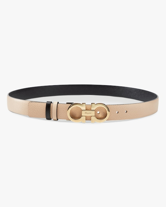 Salvatore Ferragamo Skinny Reversible Gancini Leather Belt 0