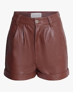 Divine Heritage Cuffed Pleated Vegan Leather Shorts 0