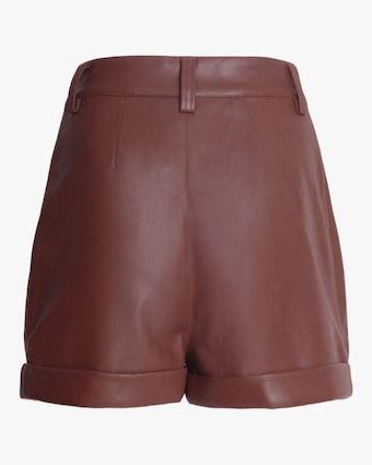 Divine Heritage Cuffed Pleated Vegan Leather Shorts 2