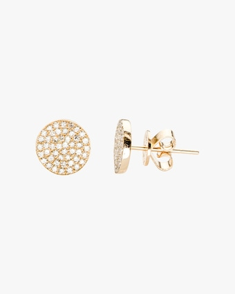 Diamond Disc Stud Earrings