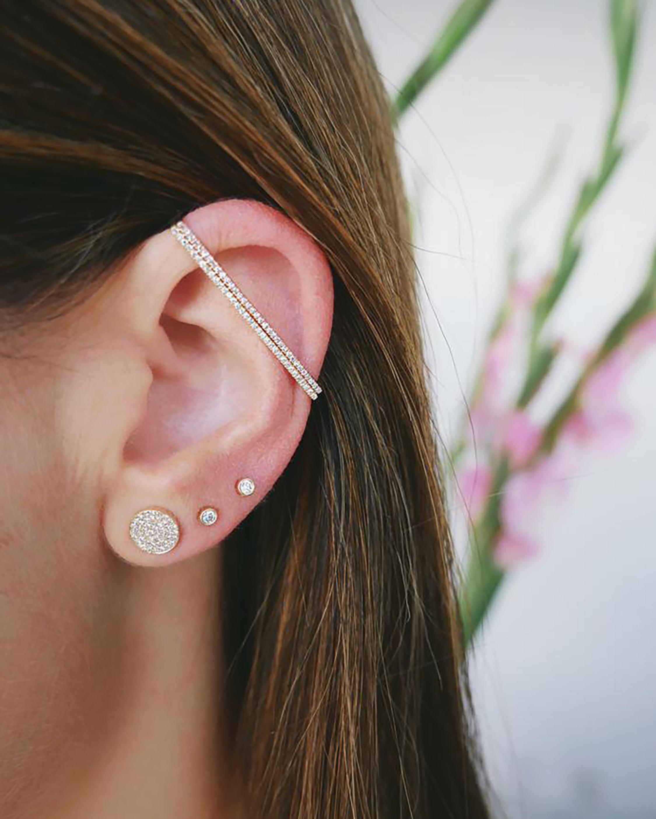 EF Collection Diamond Disc Stud Earrings 1