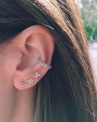 EF Collection Single Initial Stud Earring 2