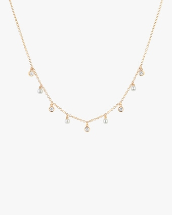 Diamond & Pearl Station Necklace