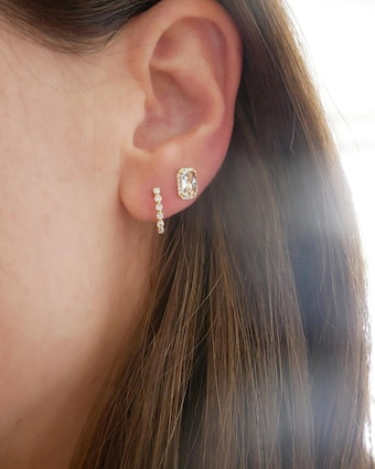 Bezel Huggie Earrings