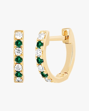 Diamond & Tsavorite Dot Huggie Earrings