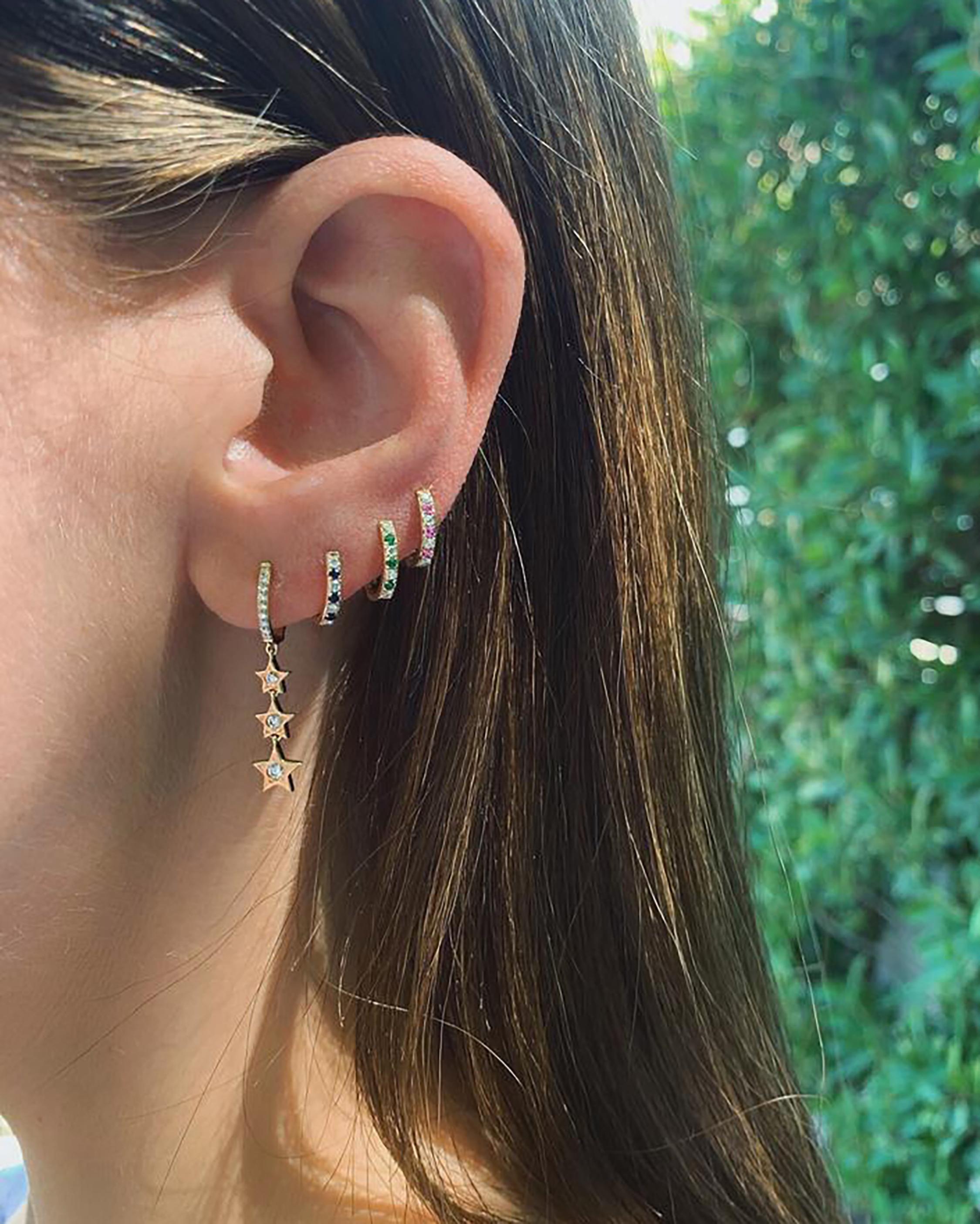 Diamond & Tsavorite Dot Huggie Earrings