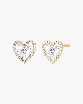 Diamond & Topaz Heart Stud Earrings