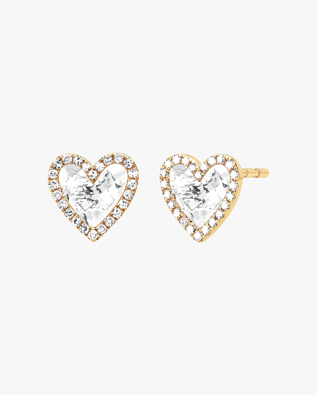 EF Collection Diamond & Topaz Heart Stud Earrings 1