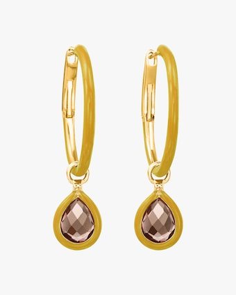 Topaz Flip Charm Hoop Earrings