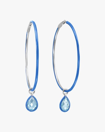 Topaz & Enamel Flip Charm Hoop Earrings