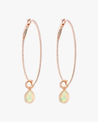 Opal & Diamond Flip Charm Hoop Earrings