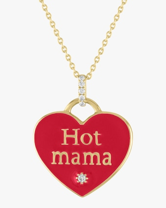 Enamel ' Hot Mama' Heart Mantra Pendant