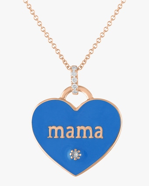 Enamel 'Mama' Heart Mantra Pendant