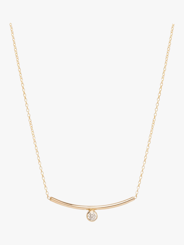 Bezel Diamond Curved Bar Necklace