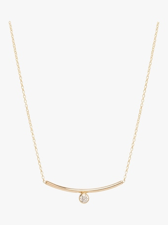 Bezel Diamond Curved Bar Necklace