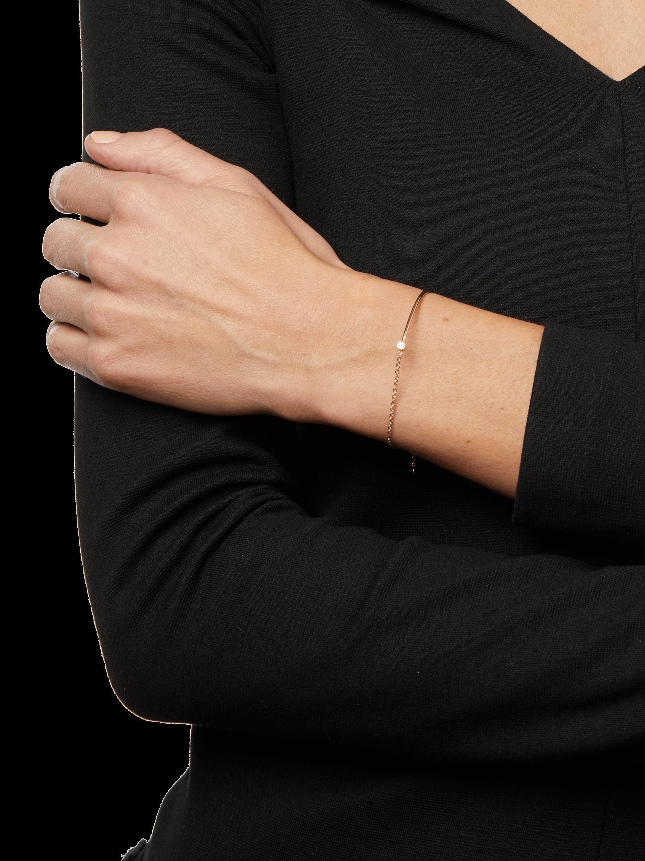 Bezel Diamond Wire And Chain Bracelet