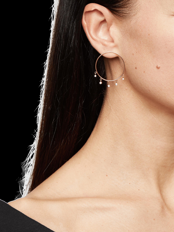 Bezel Diamonds Dangling Hoop Earrings