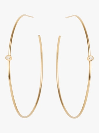 Bezel Diamond Center Hoops