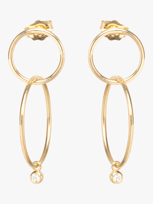Bezel Diamond Double Hoop Earrings