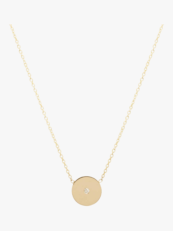 Bezel Diamond Disc Necklace