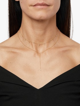 Floating Diamond Bead Chain Necklace