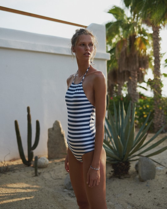 Verde Limón Blue Stripes Kara One Piece 1