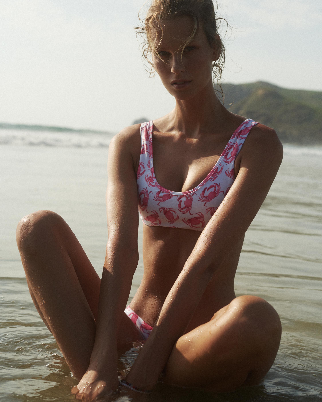 Verde Limón Pink Crabs Seto Bikini Top 2
