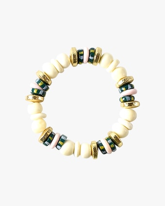 Dyed Bone & Glass Beaded Bracelet