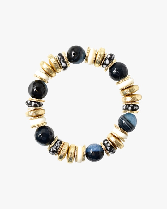Akola Blue Agate & Bone Beaded Bracelet 0