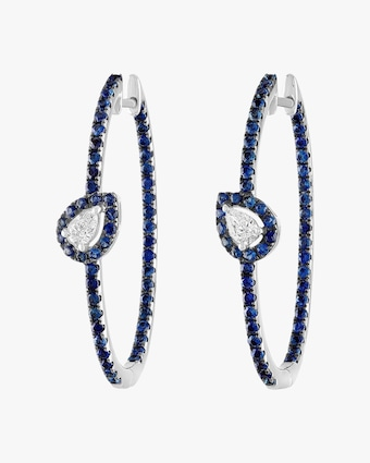 Blue Sapphire & Diamond Oval Hoop Earrings