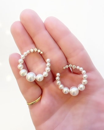 Jane Kaye Pearl Hoop Earrings 2