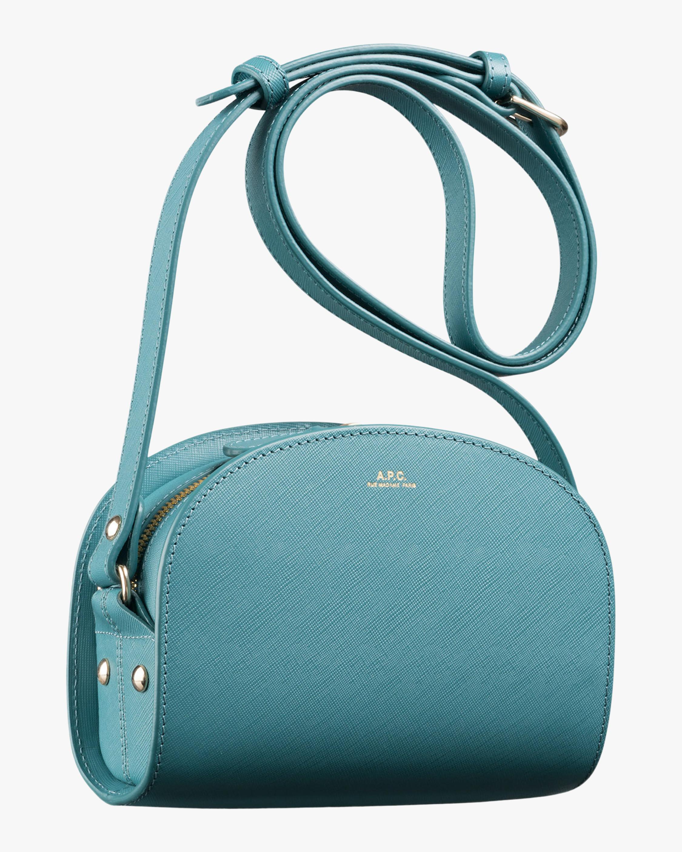 A.P.C. Blue Mini Demi-Lune Crossbody Bag 1