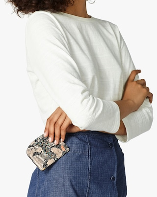 A.P.C. Demi-Lune Python-Embossed Card Holder 2