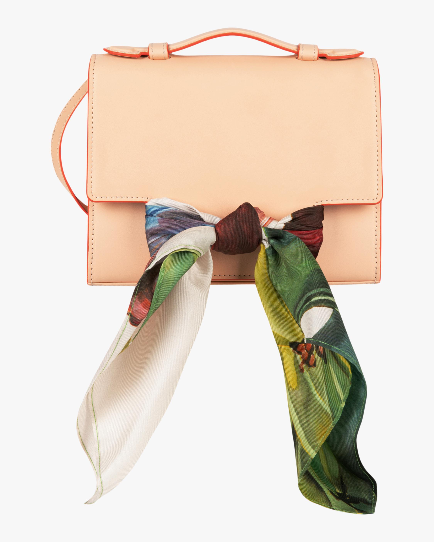 Montunas Scarf-Tie Leather Crossbody Bag 0