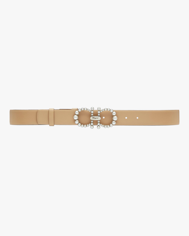 Salvatore Ferragamo Silvertone-Buckle Leather Belt 1