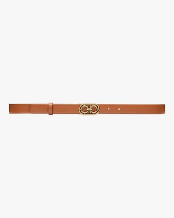 Goldtone-Buckle Leather Belt
