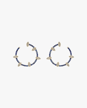 Harika Blue Sapphire & Diamond Hoop Earrings 2