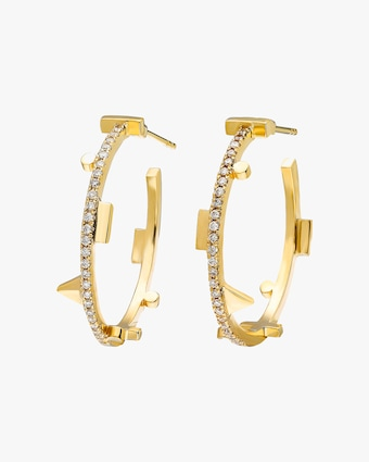 Harika Geometric Diamond Hoop Earrings 2