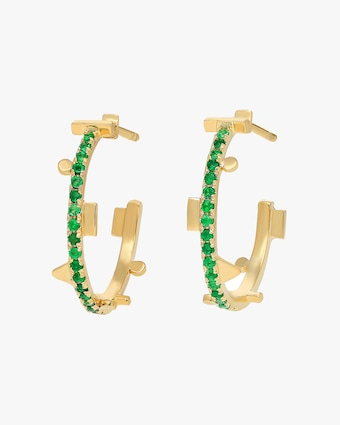 Harika Geometric Emerald Hoop Earrings 2