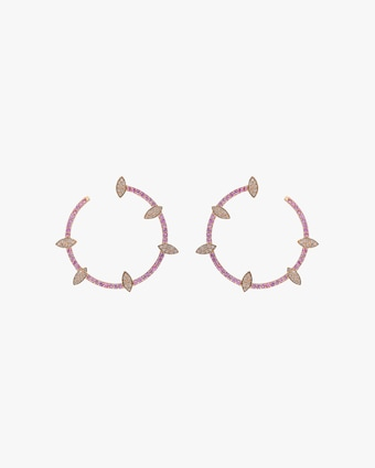 Harika Pink Sapphire & Diamond Hoop Earrings 2