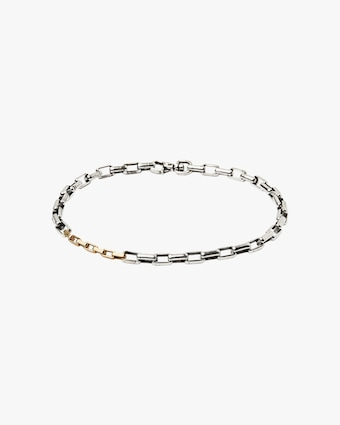 Title of Work Unisex Two-Tone Box Chain Bracelet 1