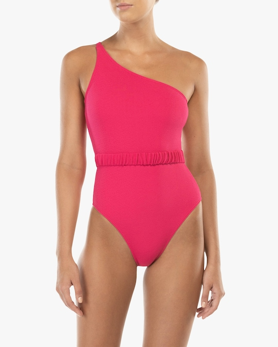 Peony Belted One-Shoulder One Piece 1