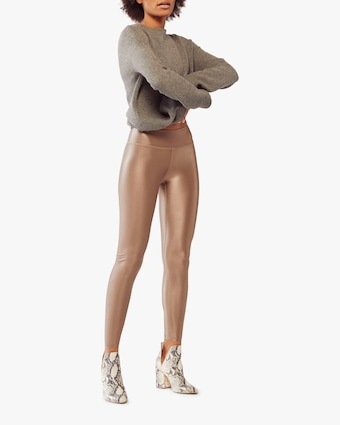 Fierce + Regal The Taupe Shiny Leggings 1