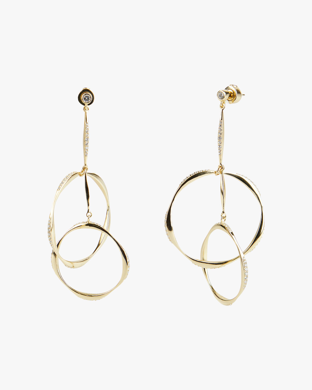River Wavy Interlocking Rings Drop Earrings