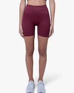 Lynx Active Maroon Ribbed High-Waist Shorts 0