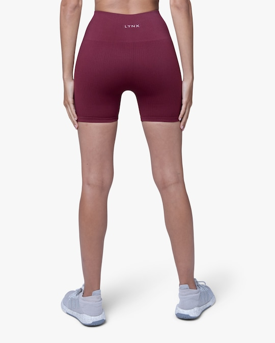 Lynx Active Maroon Ribbed High-Waist Shorts 1