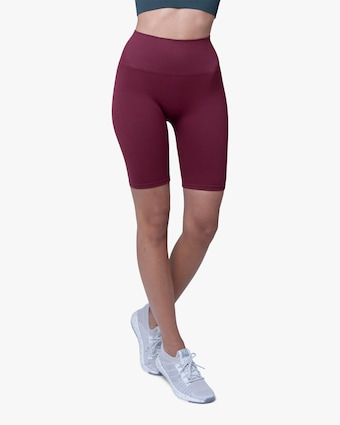 Lynx Active Maroon High-Rise Bike Shorts 1