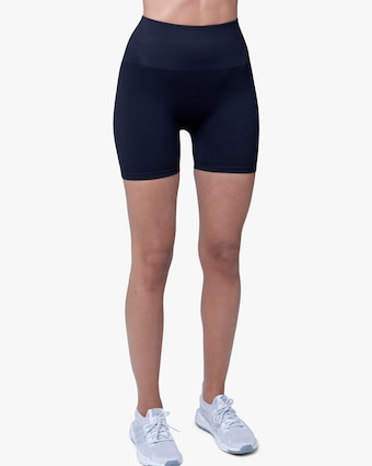 Lynx Active Black Ribbed High-Waist Shorts 1